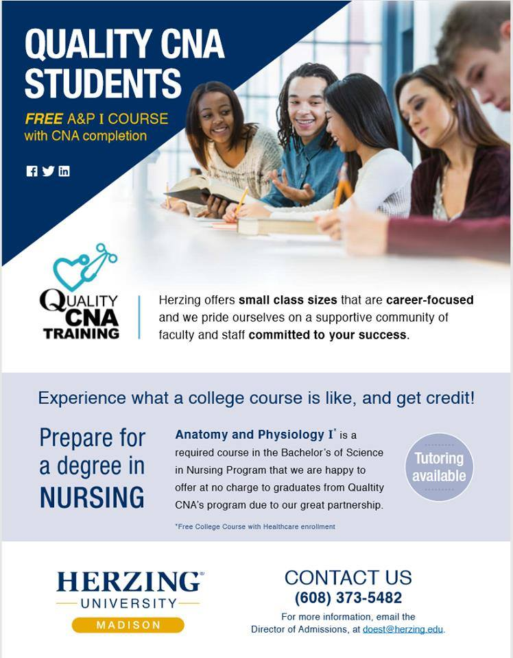 Herzing offering free classes to Quality CNA students